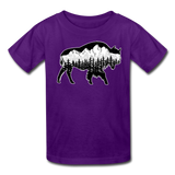 Youth T-Shirt : Teton Buffalo - purple; Buffalo t-shirt, buffalo shirt, bison shirt, bison t-shirt, Buffalo Silhouette shirt, buffalo silhouette t-shirt, grand teton shirt, grand teton t-shirt, constellation shirt, constellation t-shirt, mountain shirt, mountain t-shirt