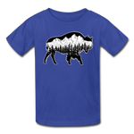 Youth T-Shirt : Teton Buffalo - royal blue; Buffalo t-shirt, buffalo shirt, bison shirt, bison t-shirt, Buffalo Silhouette shirt, buffalo silhouette t-shirt, grand teton shirt, grand teton t-shirt, constellation shirt, constellation t-shirt, mountain shirt, mountain t-shirt