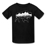Youth T-Shirt : Teton Buffalo - black; Buffalo t-shirt, buffalo shirt, bison shirt, bison t-shirt, Buffalo Silhouette shirt, buffalo silhouette t-shirt, grand teton shirt, grand teton t-shirt, constellation shirt, constellation t-shirt, mountain shirt, mountain t-shirt