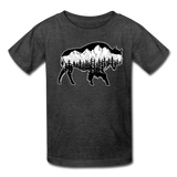 Youth T-Shirt : Teton Buffalo - heather black; Buffalo t-shirt, buffalo shirt, bison shirt, bison t-shirt, Buffalo Silhouette shirt, buffalo silhouette t-shirt, grand teton shirt, grand teton t-shirt, constellation shirt, constellation t-shirt, mountain shirt, mountain t-shirt