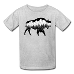 Youth T-Shirt : Teton Buffalo - heather gray; Buffalo t-shirt, buffalo shirt, bison shirt, bison t-shirt, Buffalo Silhouette shirt, buffalo silhouette t-shirt, grand teton shirt, grand teton t-shirt, constellation shirt, constellation t-shirt, mountain shirt, mountain t-shirt