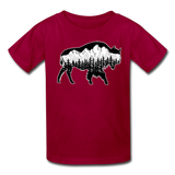 Youth T-Shirt : Teton Buffalo - dark red; Buffalo t-shirt, buffalo shirt, bison shirt, bison t-shirt, Buffalo Silhouette shirt, buffalo silhouette t-shirt, grand teton shirt, grand teton t-shirt, constellation shirt, constellation t-shirt, mountain shirt, mountain t-shirt
