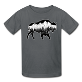 Youth T-Shirt : Teton Buffalo - charcoal; Buffalo t-shirt, buffalo shirt, bison shirt, bison t-shirt, Buffalo Silhouette shirt, buffalo silhouette t-shirt, grand teton shirt, grand teton t-shirt, constellation shirt, constellation t-shirt, mountain shirt, mountain t-shirt