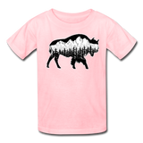 Youth T-Shirt : Teton Buffalo - pink; Buffalo t-shirt, buffalo shirt, bison shirt, bison t-shirt, Buffalo Silhouette shirt, buffalo silhouette t-shirt, grand teton shirt, grand teton t-shirt, constellation shirt, constellation t-shirt, mountain shirt, mountain t-shirt