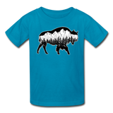 Youth T-Shirt : Teton Buffalo - turquoise; Buffalo t-shirt, buffalo shirt, bison shirt, bison t-shirt, Buffalo Silhouette shirt, buffalo silhouette t-shirt, grand teton shirt, grand teton t-shirt, constellation shirt, constellation t-shirt, mountain shirt, mountain t-shirt