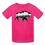Youth T-Shirt : Teton Buffalo - fuchsia; Buffalo t-shirt, buffalo shirt, bison shirt, bison t-shirt, Buffalo Silhouette shirt, buffalo silhouette t-shirt, grand teton shirt, grand teton t-shirt, constellation shirt, constellation t-shirt, mountain shirt, mountain t-shirt