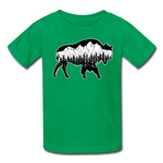 Youth T-Shirt : Teton Buffalo - kelly green; Buffalo t-shirt, buffalo shirt, bison shirt, bison t-shirt, Buffalo Silhouette shirt, buffalo silhouette t-shirt, grand teton shirt, grand teton t-shirt, constellation shirt, constellation t-shirt, mountain shirt, mountain t-shirt