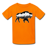 Youth T-Shirt : Teton Buffalo - orange; Buffalo t-shirt, buffalo shirt, bison shirt, bison t-shirt, Buffalo Silhouette shirt, buffalo silhouette t-shirt, grand teton shirt, grand teton t-shirt, constellation shirt, constellation t-shirt, mountain shirt, mountain t-shirt