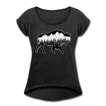 Women's Roll Cuff T-Shirt (50/50) : Teton Buffalo - heather black; Buffalo t-shirt, buffalo shirt, bison shirt, bison t-shirt, Buffalo Silhouette shirt, buffalo silhouette t-shirt, grand teton shirt, grand teton t-shirt, constellation shirt, constellation t-shirt, mountain shirt, mountain t-shirt