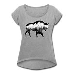 Women's Roll Cuff T-Shirt (50/50) : Teton Buffalo - heather gray; Buffalo t-shirt, buffalo shirt, bison shirt, bison t-shirt, Buffalo Silhouette shirt, buffalo silhouette t-shirt, grand teton shirt, grand teton t-shirt, constellation shirt, constellation t-shirt, mountain shirt, mountain t-shirt