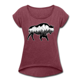 Women's Roll Cuff T-Shirt (50/50) : Teton Buffalo - heather burgundy; Buffalo t-shirt, buffalo shirt, bison shirt, bison t-shirt, Buffalo Silhouette shirt, buffalo silhouette t-shirt, grand teton shirt, grand teton t-shirt, constellation shirt, constellation t-shirt, mountain shirt, mountain t-shirt