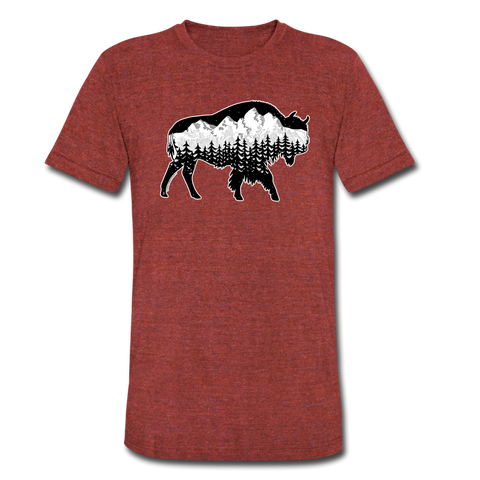 Unisex Tri-Blend T-shirt : Teton Buffalo - heather cranberry; Buffalo t-shirt, buffalo shirt, bison shirt, bison t-shirt, Buffalo Silhouette shirt, buffalo silhouette t-shirt, grand teton shirt, grand teton t-shirt, constellation shirt, constellation t-shirt, mountain shirt, mountain t-shirt