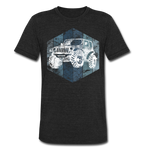 Unisex Tri-Blend T-Shirt : Blue & White Jeep - heather black; Jeep t-shirt, Jeep Shirt, Jeep T, Jeep Girl shirt, Jeep Girl t-shirt, Overland Jeep Shirt, Overland Jeep T-Shirt, Blue and White Jeep T-Shirt, Blue and White Jeep Shirt, Jeep Lover Shirt, Jeep Lover T-Shirt