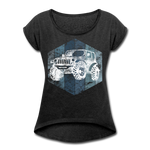 Women's Roll Cuff T-Shirt : Blue & White Jeep - heather black; Jeep t-shirt, Jeep Shirt, Jeep T, Jeep Girl shirt, Jeep Girl t-shirt, Overland Jeep Shirt, Overland Jeep T-Shirt, Blue and White Jeep T-Shirt, Blue and White Jeep Shirt, Jeep Lover Shirt, Jeep Lover T-Shirt