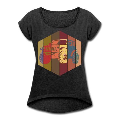 Women's Roll Cuff T-Shirt : Pop Art Jeep - heather black; Jeep t-shirt, Jeep Shirt, Jeep T, Jeep Girl shirt, Jeep Girl t-shirt, Overland Jeep Shirt, Overland Jeep T-Shirt, Rainbow Jeep T-Shirt, Rainbow Jeep Shirt, Jeep Lover Shirt, Jeep Lover T-Shirt, pop art jeep shirt, pop art jeep t-shirt, 80's Jeep Shirt, 80's Jeep T-Shirt