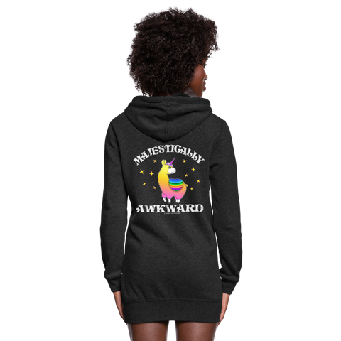 Women's Hoodie Dress : Majestically Awkward - heather black
