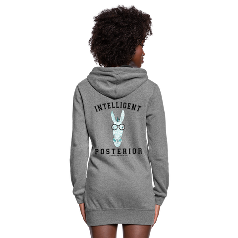Women's Hoodie Dress : Intelligent Posterior - heather gray; Hoodie Dress Intelligent Posterior; funny hoodie dress, funny sweatshirt dress, math equation hoodie dress, clever hoodie dress, smart ass hoodie dress, intelligent hoodie dress, Smart Ass Design featuring a burro (aka. donkey), math formulas, math art, #MATHLOVE #MATHLIFE #SMARTASS