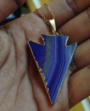 Purple Agate Arrowhead Necklace