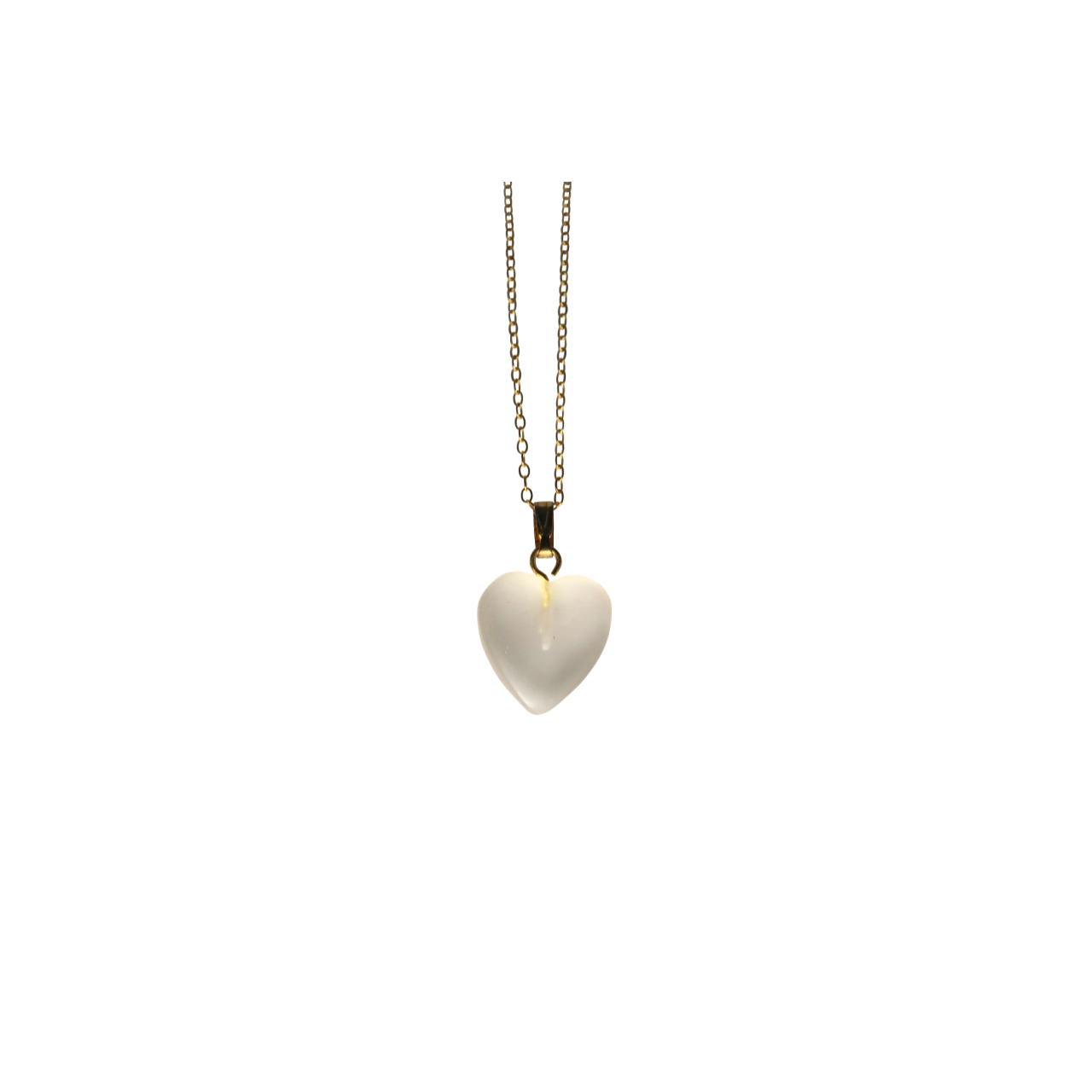 Frosted Quartz Heart Necklace