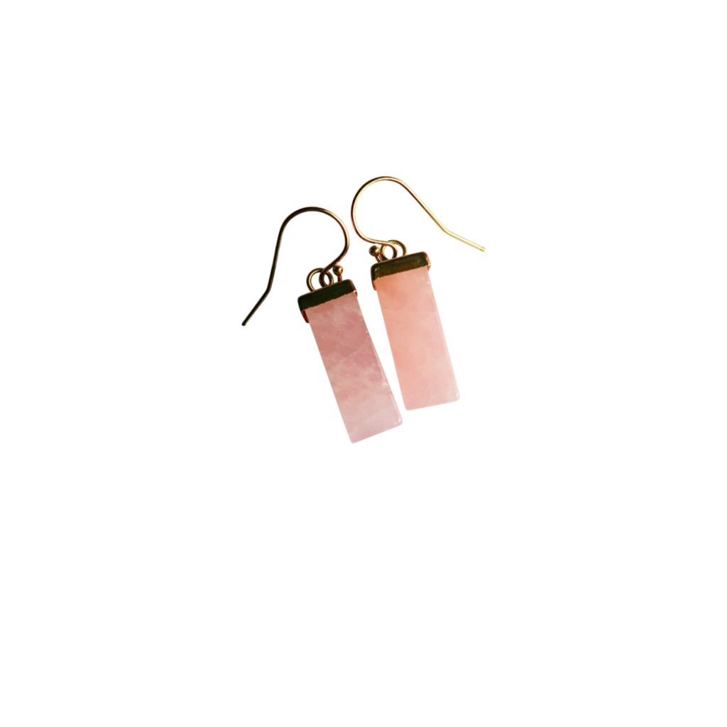 Rose Quartz Prism Earrings