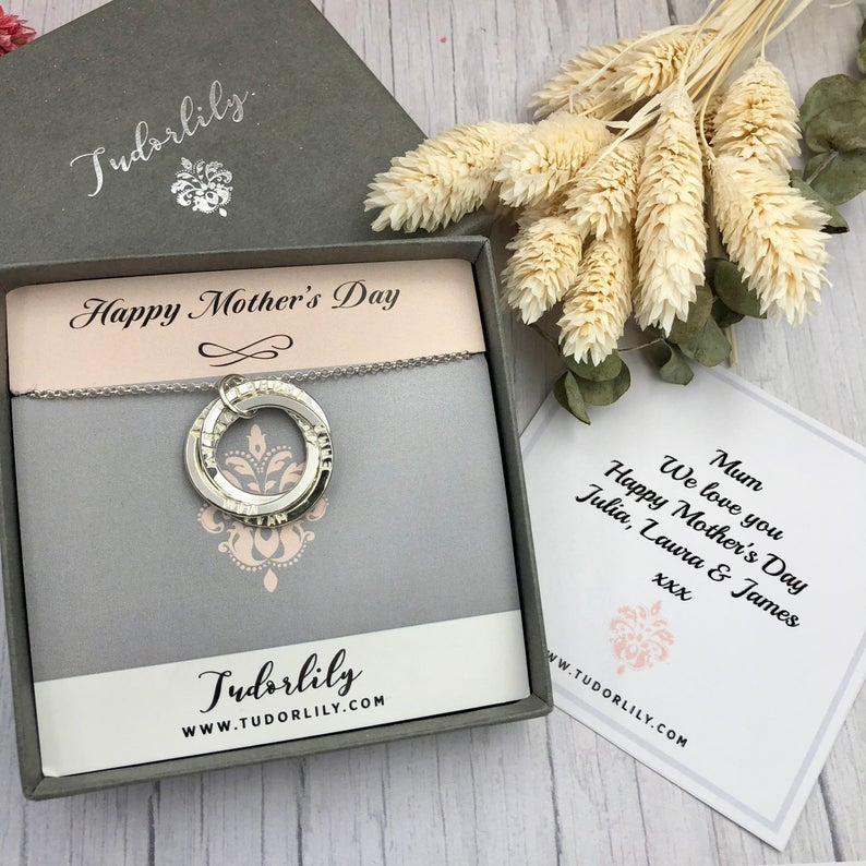 Mothers Day Personalised Names Necklace (2, 3 or 4 Ring)