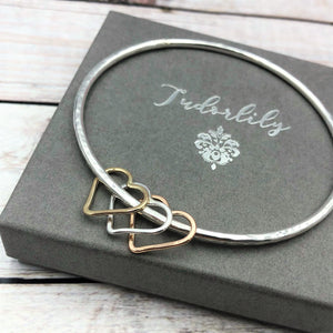Solid Rose & Yellow 9ct Gold Hearts Bangle