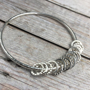 18th or 21st Charm Sterling Bangle