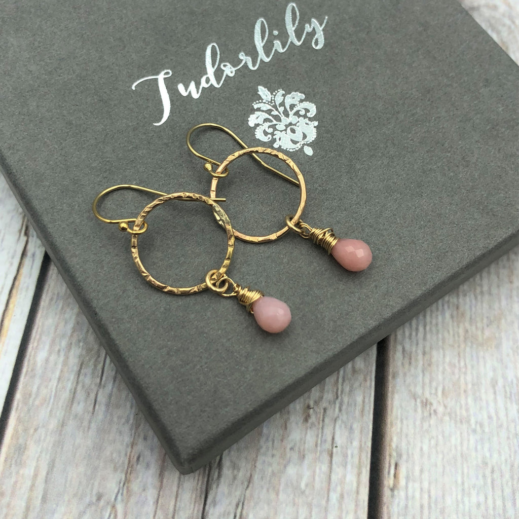 Goldfill Pink Opal Earrings