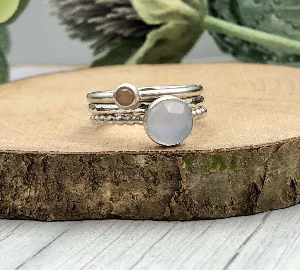 Natural Chalcedony and Peach Moonstone Rings