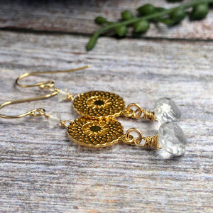 Gold Earrings with Crystal Quartz