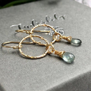 Moss Aquamarine Goldfill Earrings