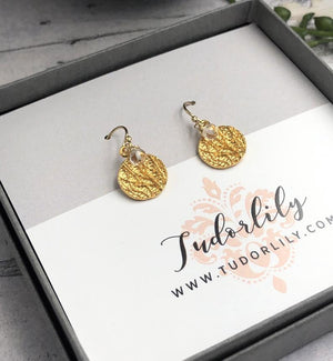 Gold Coin Earrings with Crystal Quartz