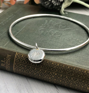 Dandelion Flower Charm Bangle