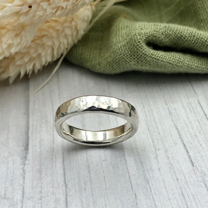 Unisex Textured Wide Oval Ring