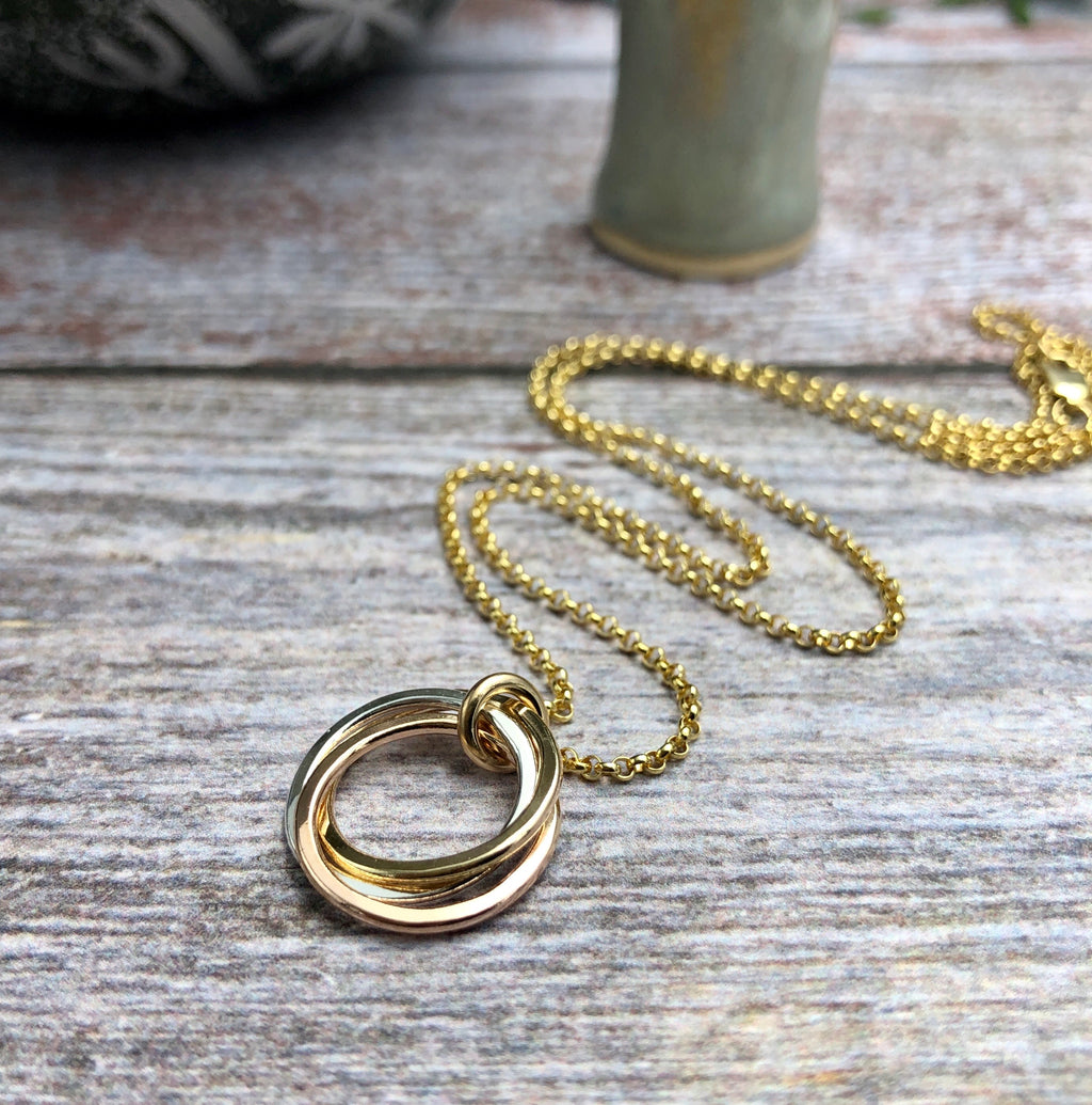 Petite Silver, Gold & Rose Gold Necklace