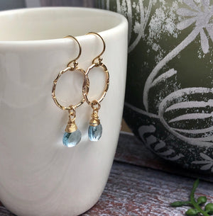 Aquamarine Goldfill Circle Earrings