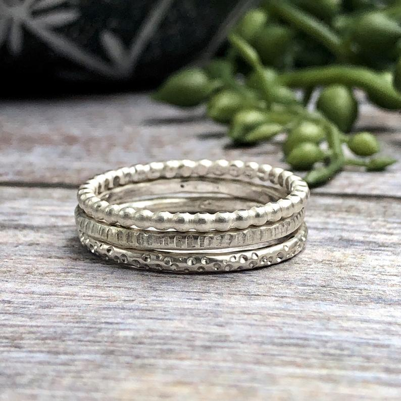 Lulu Sterling Patterned Stacking Rings