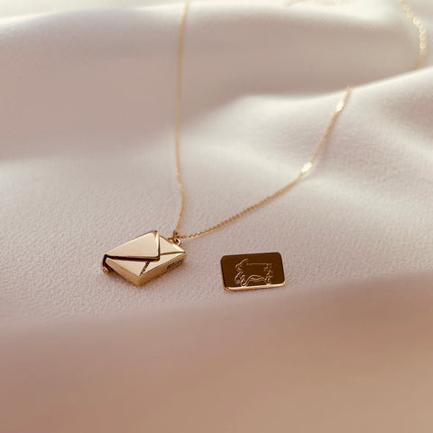Bespoke Signature Envelope Necklace Daughter's Fox Sketch 9ct gold