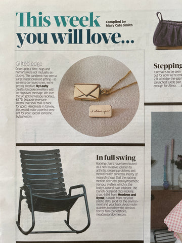 Business Post Magazine By Leahy Bespoke Handwriting Signature Envelope Necklace 9ct Gold Gilted Edge Engraved Message