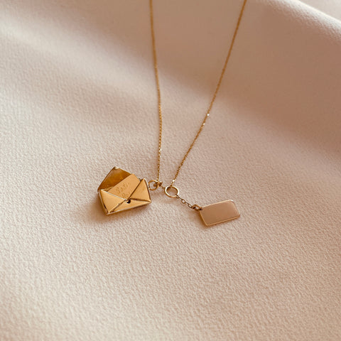 By Leahy Fine Jewellery, Signature Slip, Signature Envelope Necklace, 9ct gold, 18ct gold, sterling silver, rose gold