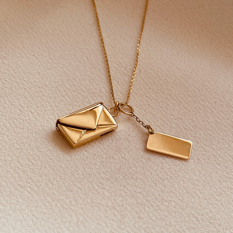 By Leahy Fine Jewellery Signature Envelope Necklace Signature Slip 9ct gold, 18ct gold, rose gold, sterling silver