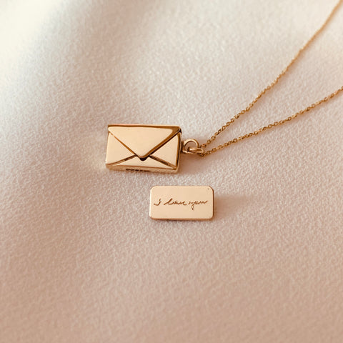 By Leahy, Fine Jewellery. I love you, Bespoke Handwriting Signature Envelope Necklace