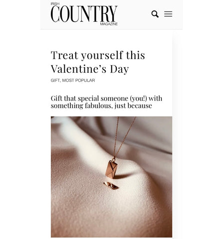 Irish fine jewellery brand By Leahy rose gold signature envelope necklace Valentine's Day Irish Country Magazine