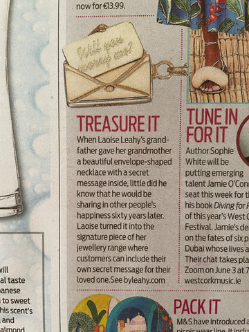 Irish Mail on Sunday Magazine May 2021 Will you marry me? Signature Envelope Necklace in 9ct Gold secret message for loved one