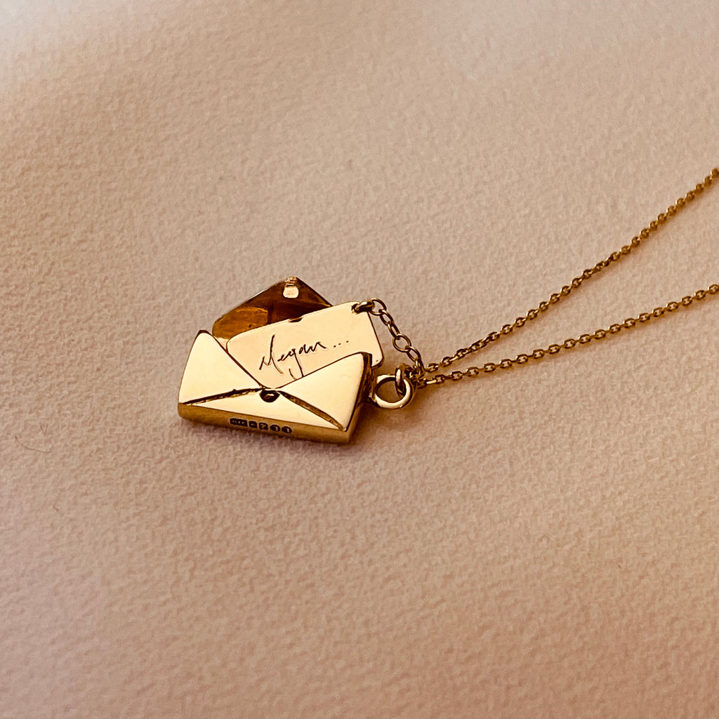 Bespoke Signature Envelope Necklace - 9ct Gold