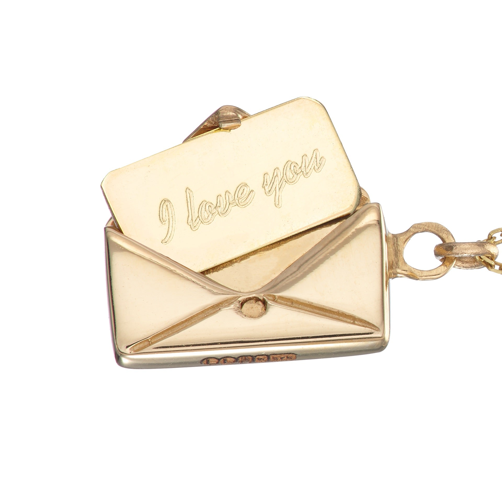 18ct Gold 'I love you' Signature Envelope Necklace