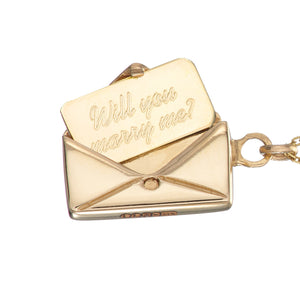 18ct Gold 'Will you marry me? Signature Envelope Necklace