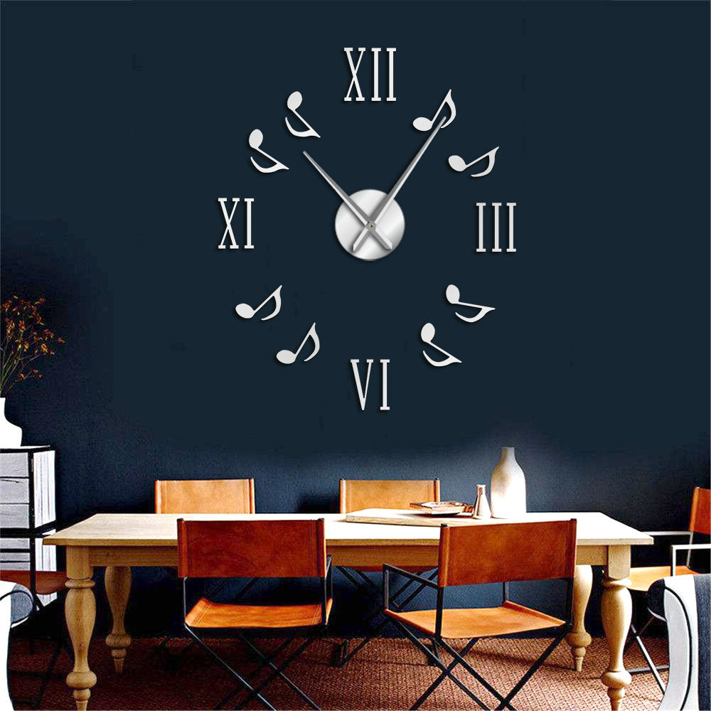Music Note Wall Clock For Home Office Decor Black