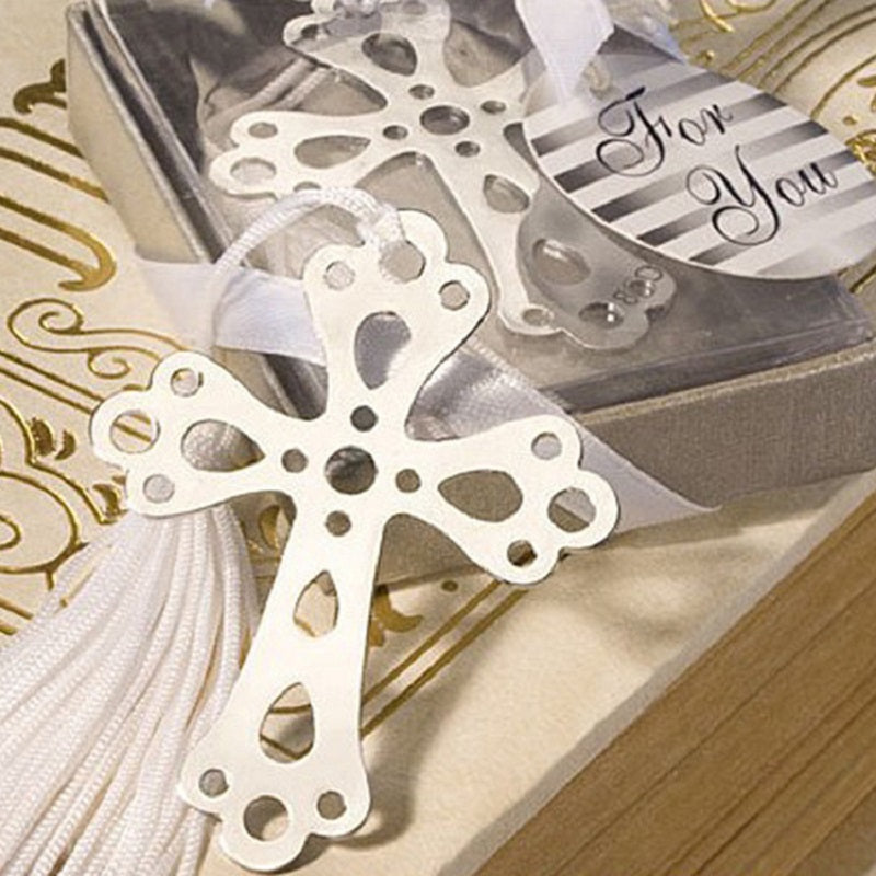 Boxed Silver Bible Cross Bookmark 12 Pieces