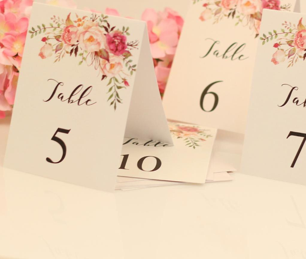 1-10 Table Numbers Place Card
